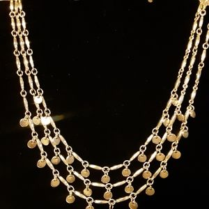Gypsy Style Tri Layer Necklace with Dangling Discs